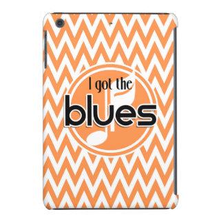 Blues Music; Orange and White Chevron iPad Mini Retina Cover