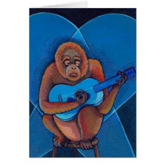 Blues musician orangutan playing guitar fun art card