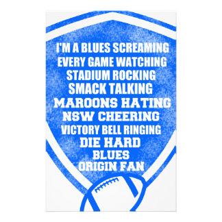 blues origin fan stationery design