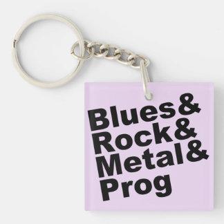 Blues&Rock&Metal&Prog (blk) Keychain