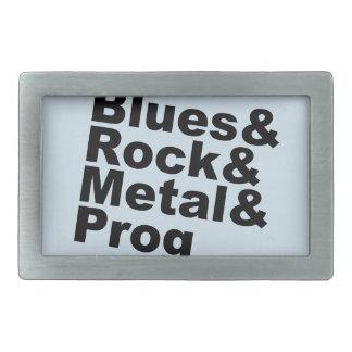 Blues&Rock&Metal&Prog (blk) Rectangular Belt Buckle