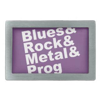 Blues&Rock&Metal&Prog (wht) Belt Buckle