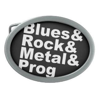 Blues&Rock&Metal&Prog (wht) Oval Belt Buckle