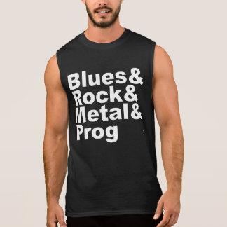 Blues&Rock&Metal&Prog (wht) Sleeveless Shirt