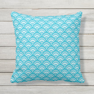 Blues Scallop Pattern All Textures Throw Pillow