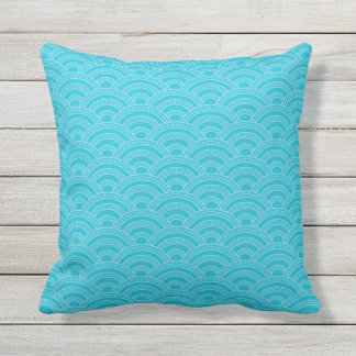 Blues Scallop Stitch Pattern All Textures Throw Pillow