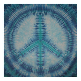 Blues Tie Dye Peace Sign Canvas Poster
