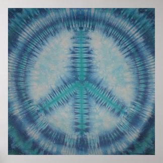Blues Tie Dye Peace Sign Canvas Print