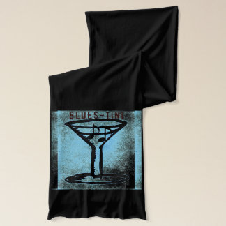 """Blues- Tini"" Martini and Music Art Scarf"