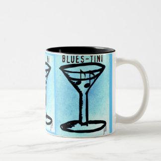BLUES-TINI print by jill Two-Tone Coffee Mug