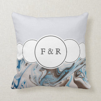 Blues & White Marble Colors With Circles Throw Pillow