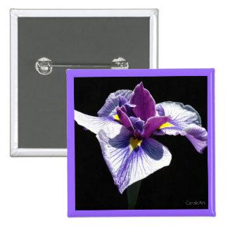Bluest Purple Iris 2 Inch Square Button