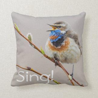 Bluethroat Singing Throw Pillow