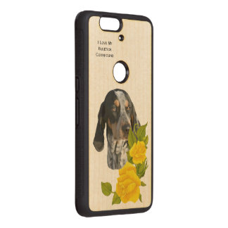 Bluetick Coonhound and Yellow Roses Wood Nexus 6P Case