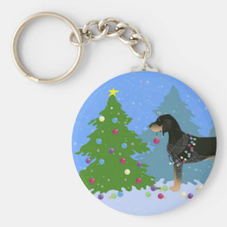 Bluetick Coonhound Decorating Christmas Tree Basic Round Button Keychain