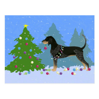 Bluetick Coonhound Decorating Christmas Tree Postcard