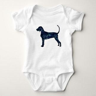 Bluetick Coonhound Dog Black Watercolor Silhouette Baby Bodysuit