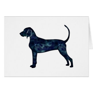 Bluetick Coonhound Dog Black Watercolor Silhouette Card