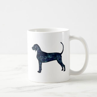 Bluetick Coonhound Dog Black Watercolor Silhouette Coffee Mug