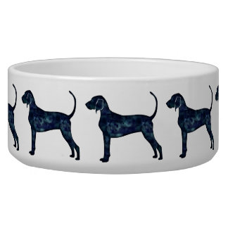 Bluetick Coonhound Dog Black Watercolor Silhouette Dog Water Bowls
