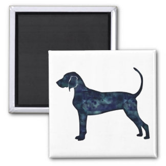 Bluetick Coonhound Dog Black Watercolor Silhouette Magnet