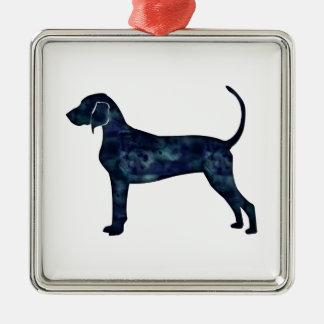 Bluetick Coonhound Dog Black Watercolor Silhouette Silver-Colored Square Ornament
