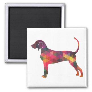Bluetick Coonhound Dog Geometric Silhouette Square Magnet