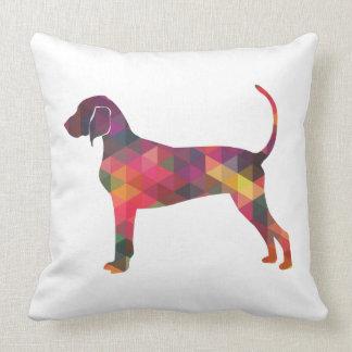 Bluetick Coonhound Dog Geometric Silhouette Throw Pillow