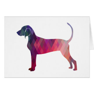 Bluetick Coonhound Geometric Pattern Silhouette Card