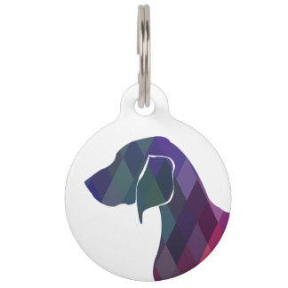 Bluetick Coonhound Geometric Pattern Silhouette Pet Name Tag