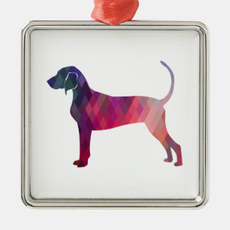 Bluetick Coonhound Geometric Pattern Silhouette Silver-Colored Square Ornament