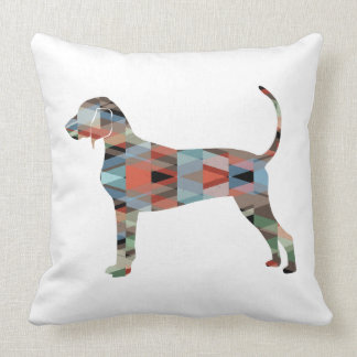 Bluetick Coonhound Geometric Pattern Silhouette Throw Pillow