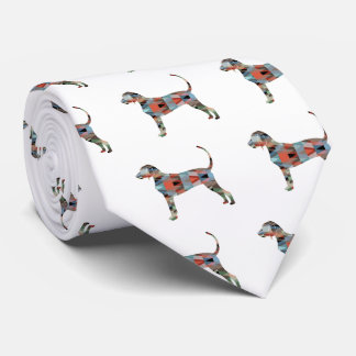 Bluetick Coonhound Geometric Pattern Silhouette Tie