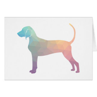 Bluetick Coonhound Geometric Silhouette in Pastels Card