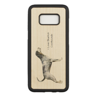 Bluetick Coonhound on Tan Leaves Carved Samsung Galaxy S8 Case