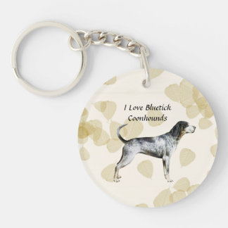 Bluetick Coonhound on Tan Leaves Double-Sided Round Acrylic Keychain