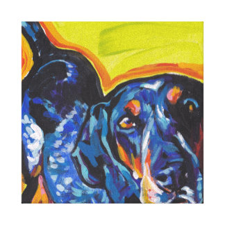 Bluetick Coonhound Pop Art on Stretched Canvas