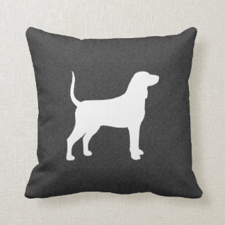 Bluetick Coonhound Silhouette Throw Pillow
