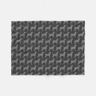 Bluetick Coonhound Silhouettes Pattern Grey Fleece Blanket
