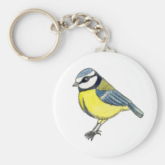 Bluetit cut out basic round button keychain
