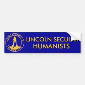 blueyellowlsh2, LINCOLN SECULAR , HUMANISTS Bumper Sticker