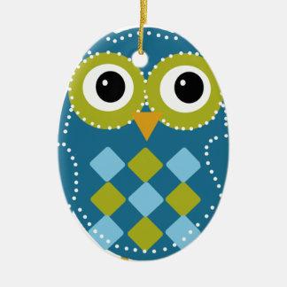 Blue'Z  the Adorable Owl Ceramic Oval Ornament