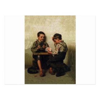 Bluffing ~ Shoe Shine Boys Playing Poker(1885) Postcard