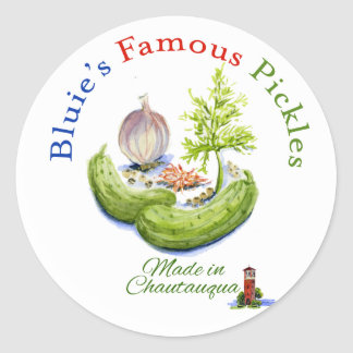 Bluie's Famous Pickles Classic Round Sticker