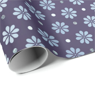 BLuigi Navy Deep  Foil  Floral Daisy  Dots Wrapping Paper