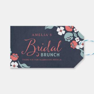 Bluish Chalkboard Floral Bridal Brunch Gift Tag