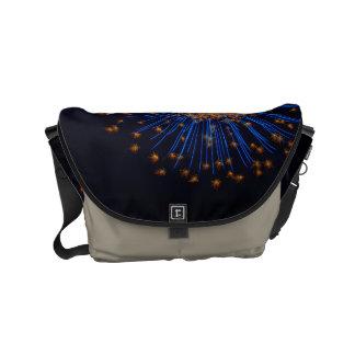 Bluish fireworks messenger bag