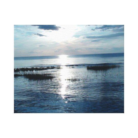 Bluish Sunset over Cape Cod Beach Canvas Print
