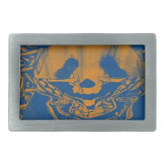 Bluish Yellow Gangsta Panda Rectangular Belt Buckle