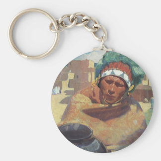 Blumenschein, Taos Native American Indian Portrait Basic Round Button Keychain